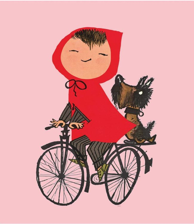 Fiep Westendorp Wall Mural for kids Riding my Bike, Pink, 243.5 x 280 cm
