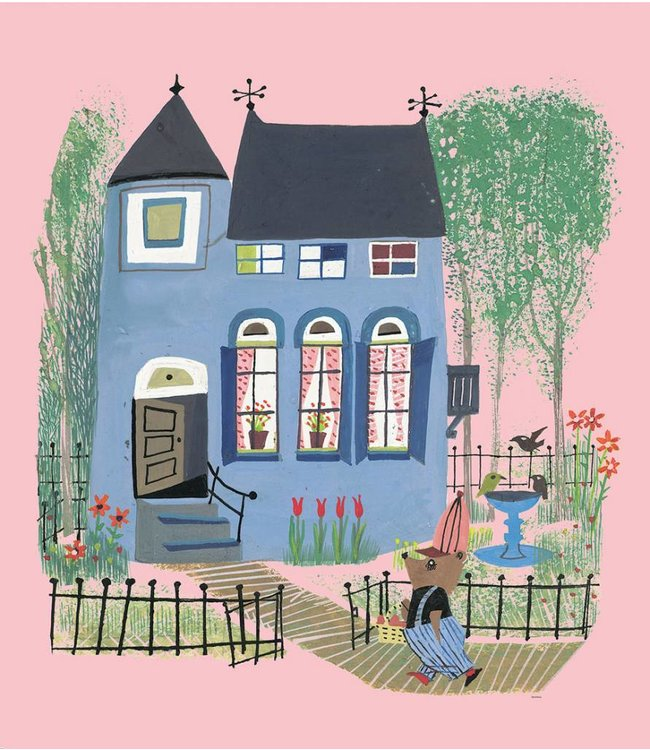 Fiep Westendorp Fotobehang Bear with Blue House, 243.5 x 280 cm