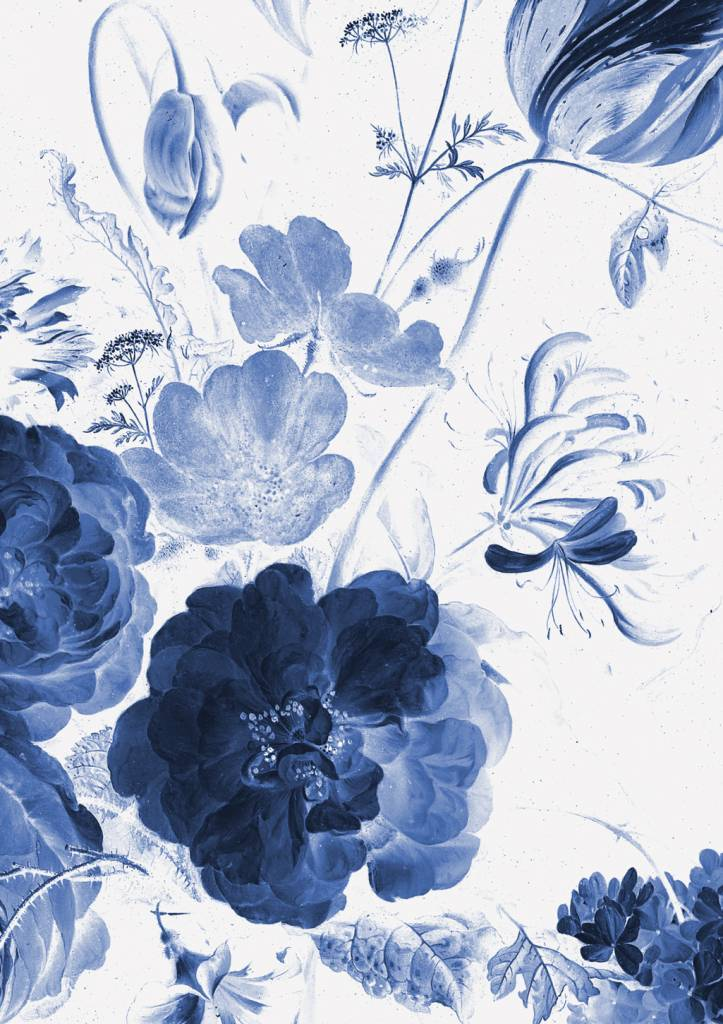 Wall Mural Royal Blue Flowers 1 1948 X 280 Cm Kek Amsterdam