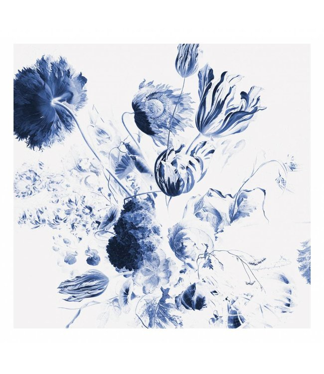 Wall Mural Royal Blue Flowers 2, 292.2 x 280 cm