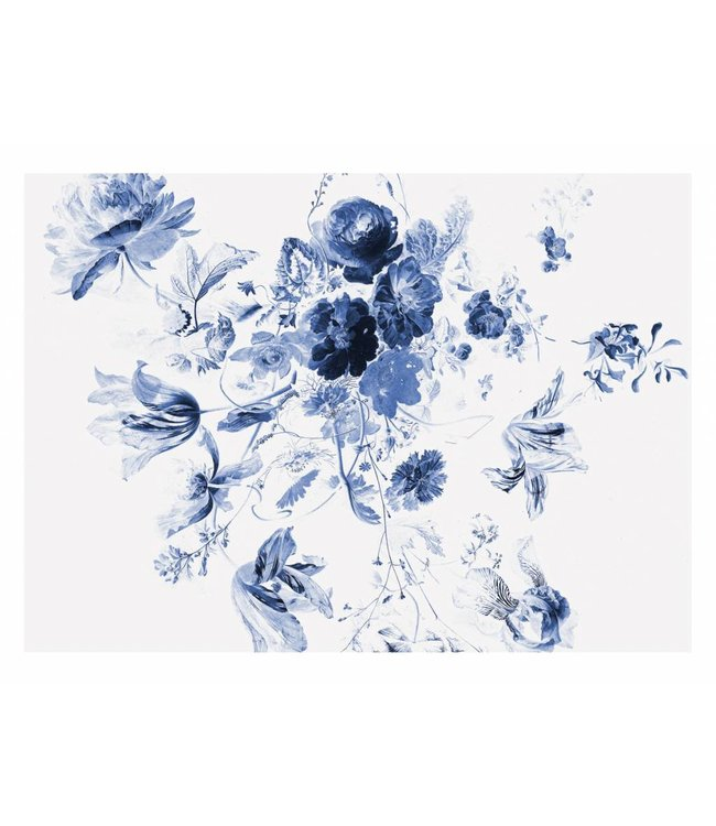 Wall Mural Royal Blue Flowers 3, 389.6 x 280 cm