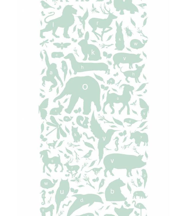 Wallpaper for kids ABC Animals, Green