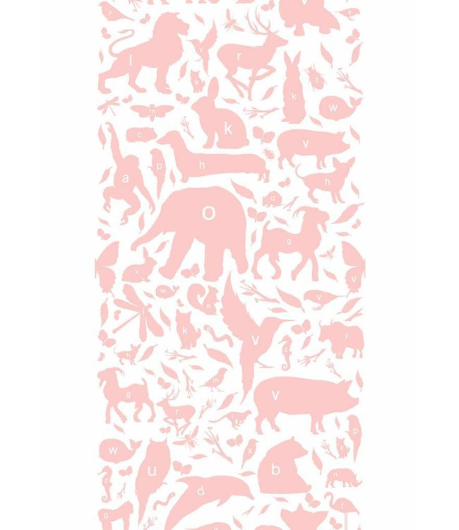 Behang ABC Animals, Roze, 146.1 x 280 cm