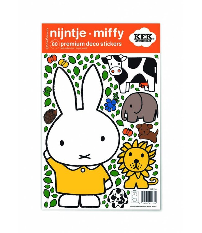Dick Bruna Miffy wall stickers Miffy with animals, 21 x 33 cm
