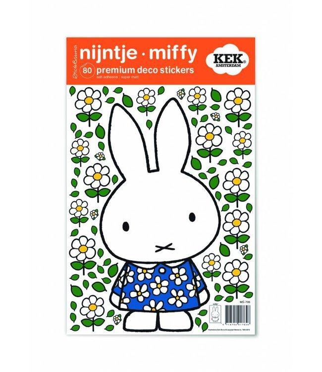 Dick Bruna Miffy Wandtattoos Miffy with Blue flower dress, 21 x 33 cm