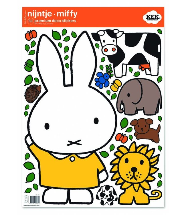 Dick Bruna Miffy wall stickers Miffy with animals, 42 x 59 cm