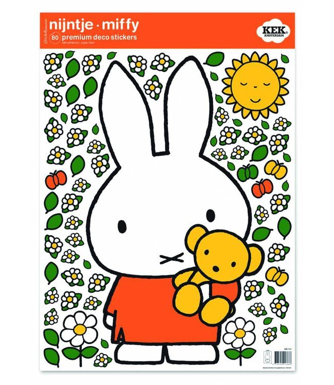 Dick Bruna Miffy Wandtattoos Miffy with little bear, 42 x 59 cm