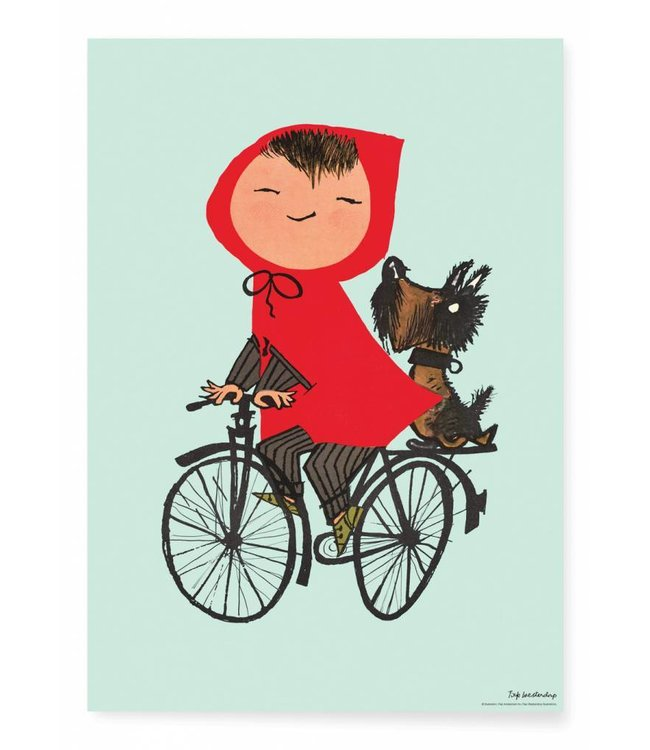 Fiep Westendorp Poster Riding my Bike, Groen, 42 x 59.4 cm
