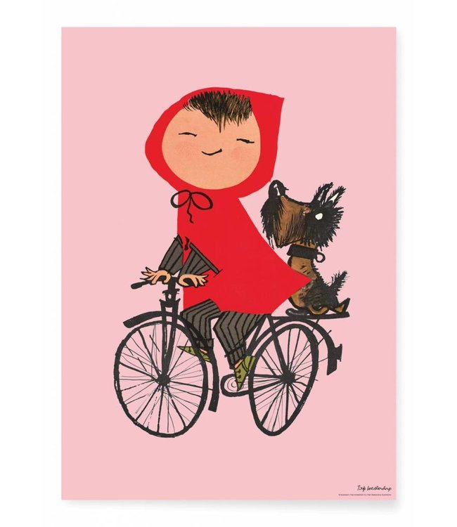 Fiep Westendorp Poster Riding my Bike, Rosa, 42 x 59.4 cm