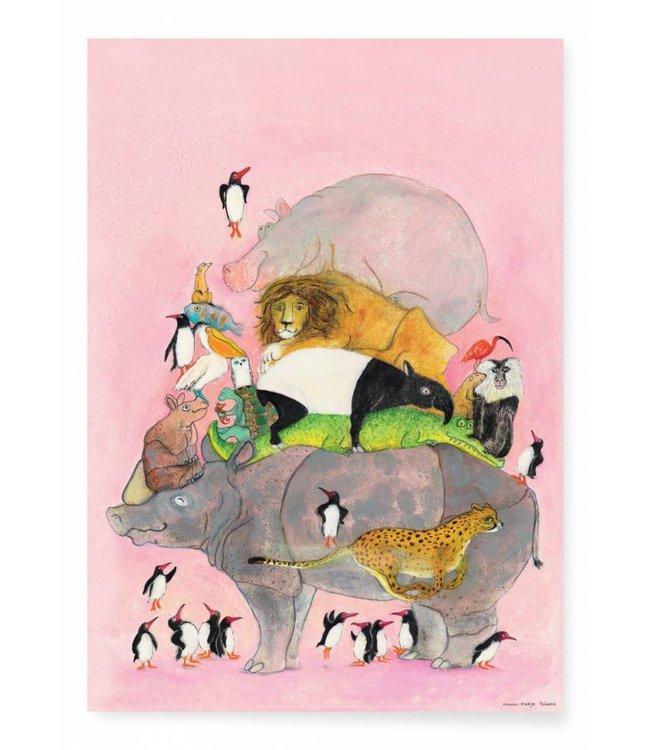 Poster Jumping Pinguïns, 42 x 59.4 cm