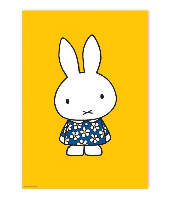 Poster Miffy with blue flower dress, 42 x 59.4 cm