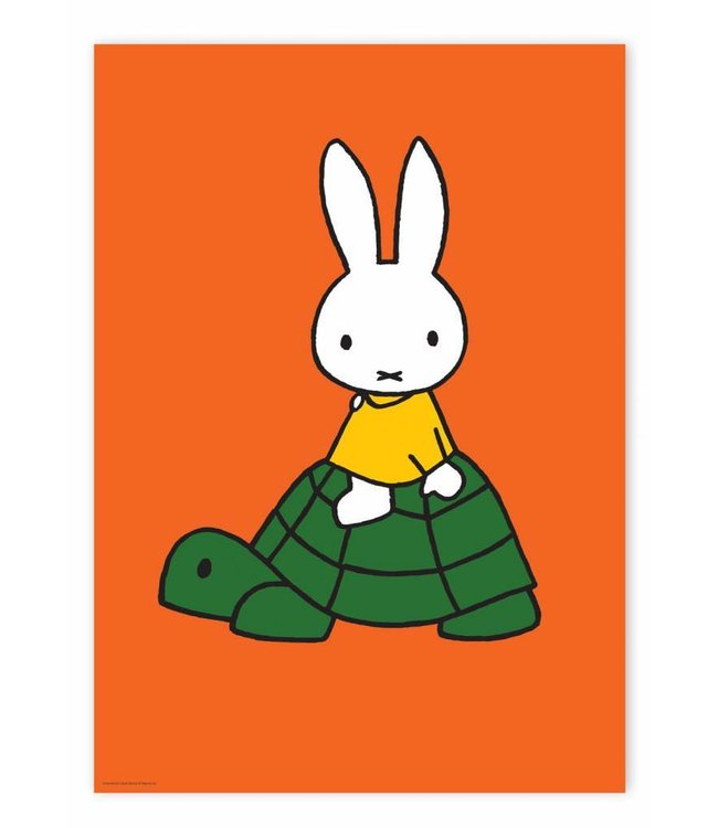 Dick Bruna Poster Miffy riding on turtle, 42 x 59.4 cm