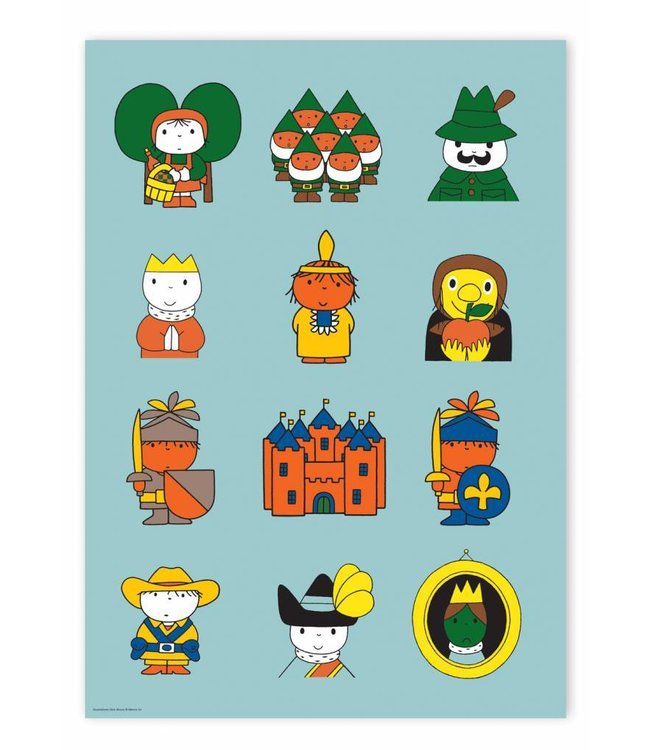 Dick Bruna Poster Dick Bruna's fairytale characters, 42 x 59.4 cm