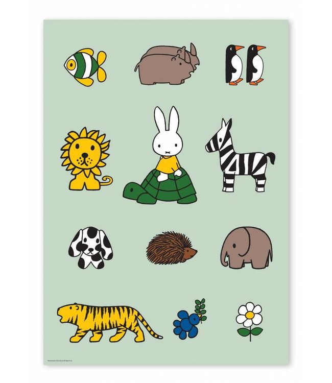 Dick Bruna Poster Miffy with animals, 42 x 59.4 cm