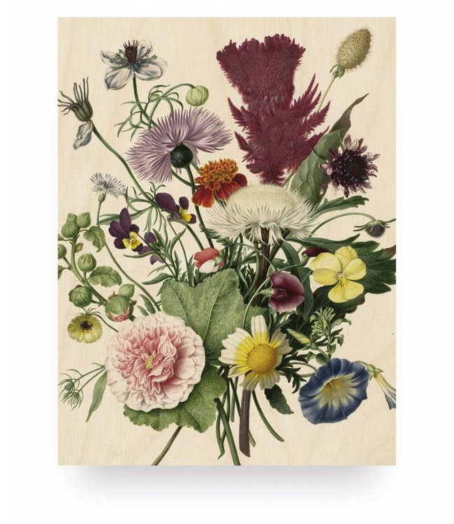 Print op hout, Wild Flowers, S, 45 x 60 cm