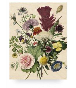 Print op hout Wild Flowers, L