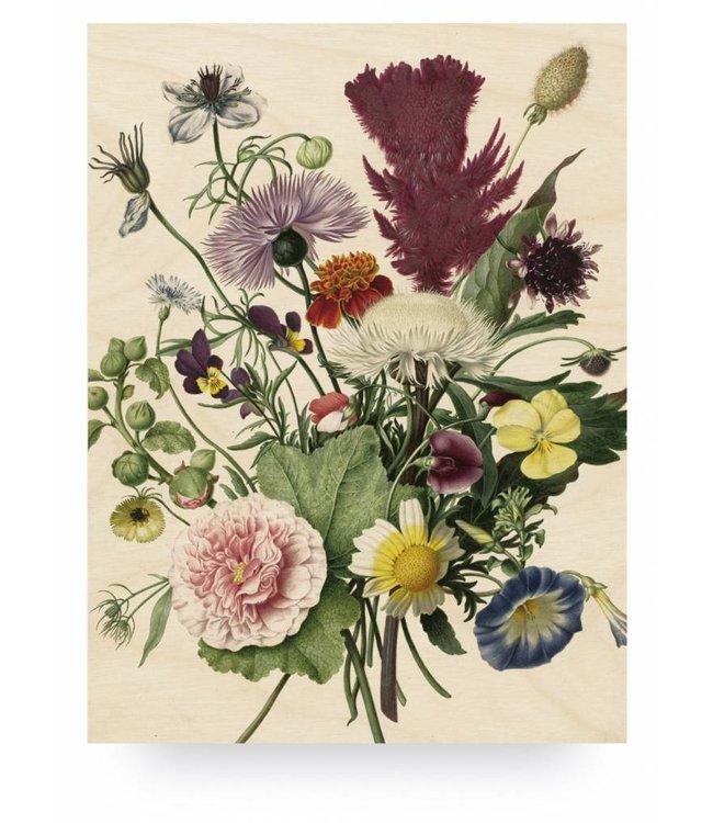 Wood print, Wild Flowers, L, 75 x 100 cm