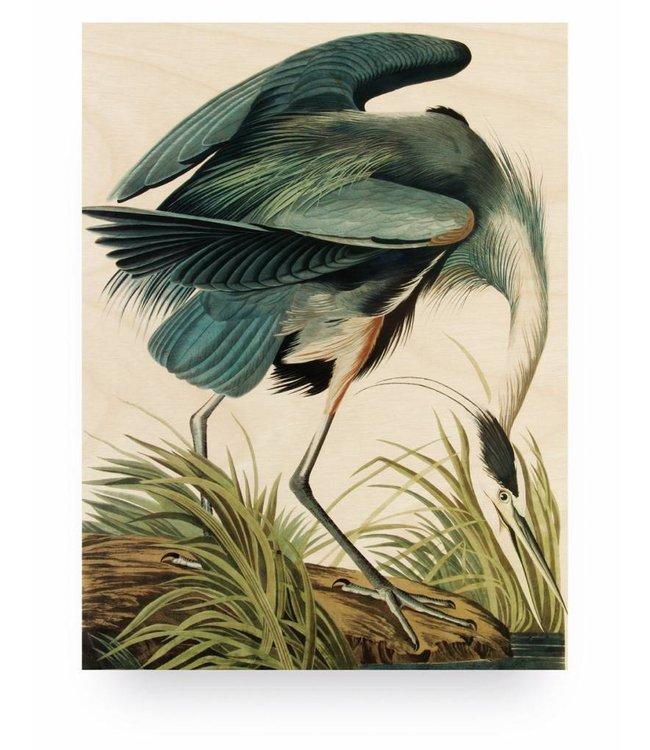 Print op hout, Reiger/Heron in gras, M, 60 x 80 cm