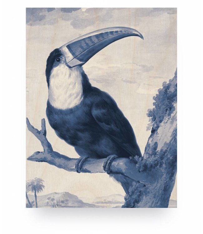 Prints auf Holz, Royal Blau Toucan, S, 45 x 60 cm