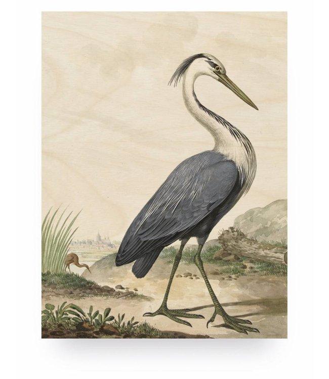 Print op hout, Reiger/Heron, M, 60 x 80 cm