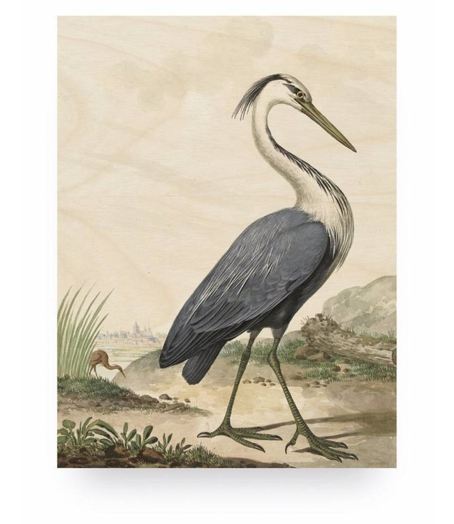 Prints auf Holz, Reiger/Heron, M, 60 x 80 cm