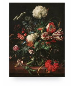 Print op hout Golden Age Flowers 1, M