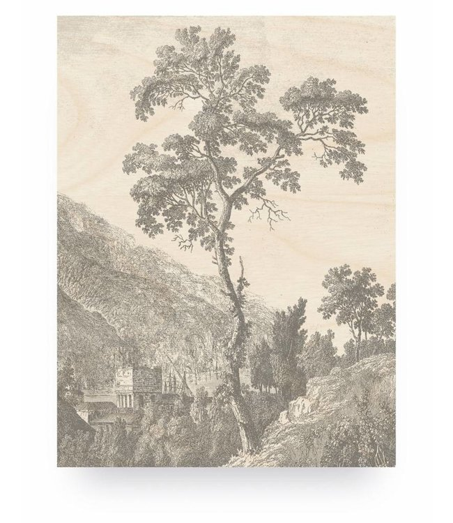 Wood print, Engraved Tree, M, 60 x 80 cm