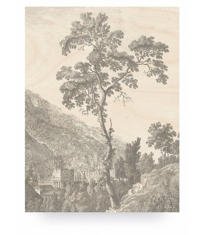 Wood print, Engraved Tree, L, 75 x 100 cm
