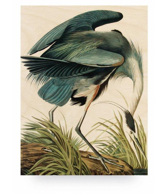 Wood print, Heron in gras, L, 75 x 100 cm
