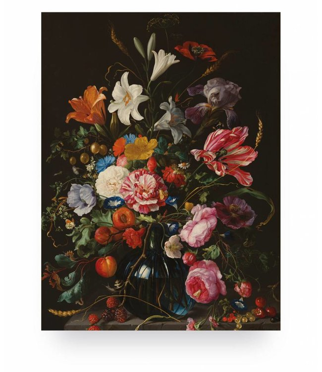 Wood print, Golden Age Flowers 5, S, 45 x 60 cm