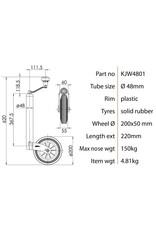 48mm Kartt Orange Jockey Wheel Plastic Rim Rubber Tyre | Fieldfare Trailer Centre