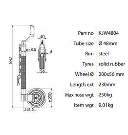 Kartt Orange 48mm Serrated Tube Jockey Metal Rim Solid Wheel