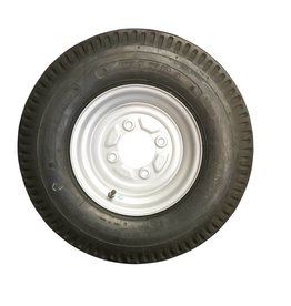 """500 x 10 Wheel & Tyre 6 PLY in White 4 Stud 4"""" PCD"""