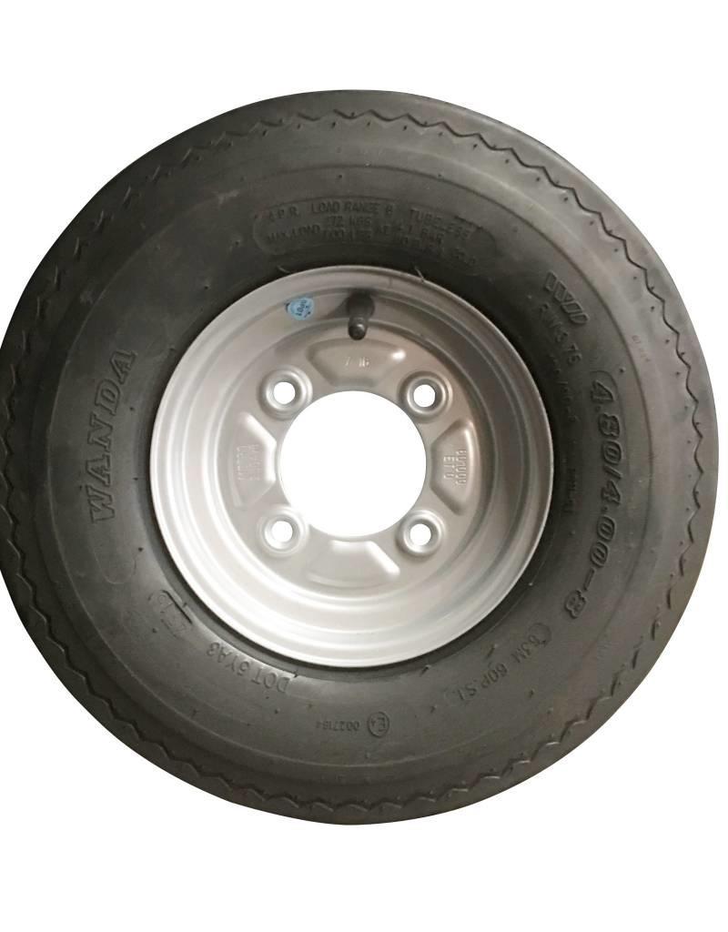 "400 x 8 Wheel & Tyre 4 PLY in White 4"" PCD   Fieldfare Trailer Centre"