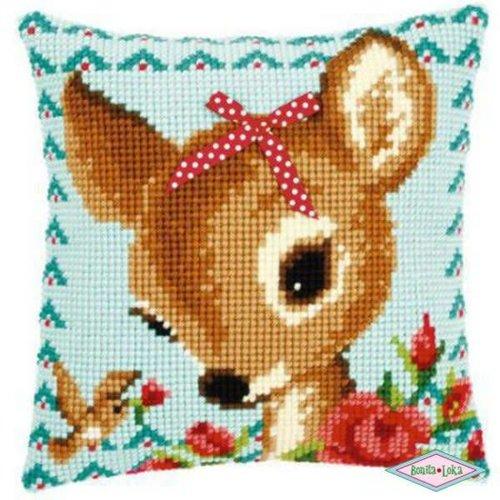 Bambi met Strikje kussen Borduurpakket