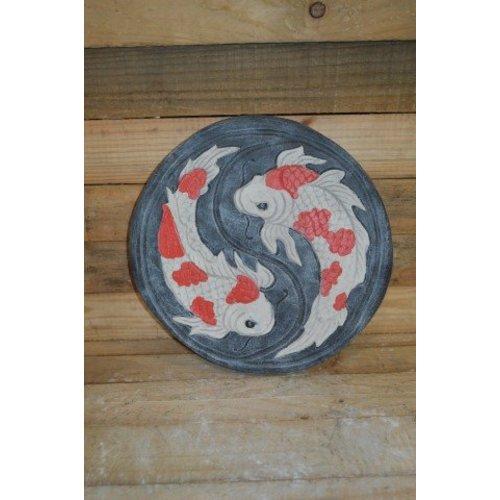Stapsteen met Koi's ( H 40 cm)