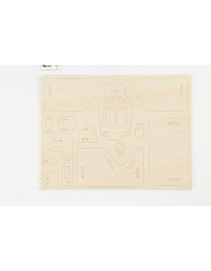 3D Houten constructie set, afm 15,8x17,5x19,5, 1 stuk, triplex