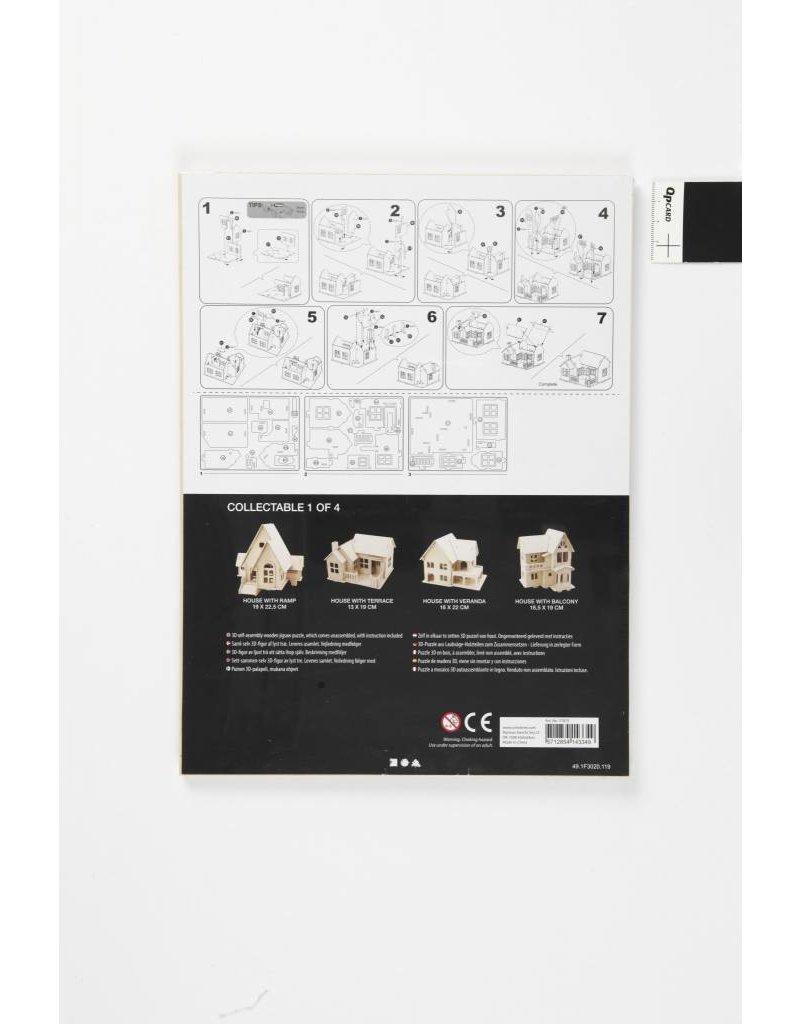 3D Houten constructie set, afm 19x17,5x15, 1 stuk, triplex