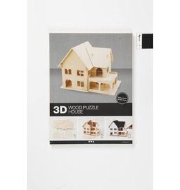 3D Houten huis met serre, afm 22,5x16x17,5, 1 stuk, triplex