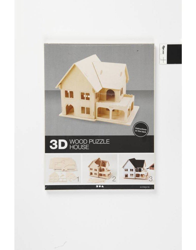 3D Houten constructie set, afm 22,5x16x17,5, 1 stuk, triplex