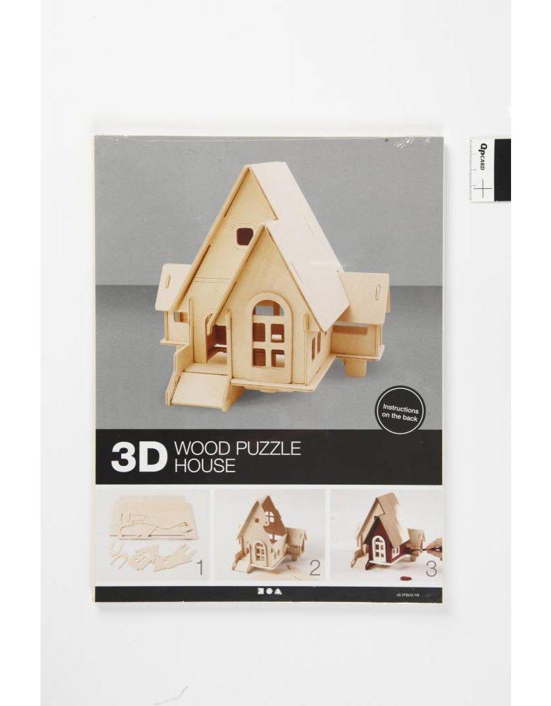3D Houten constructie set, afm 22,5x17,5x20,5, 1 stuk, triplex