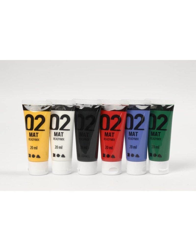 AColor acrylverf, 6x20 ml, kleuren assorti, mat