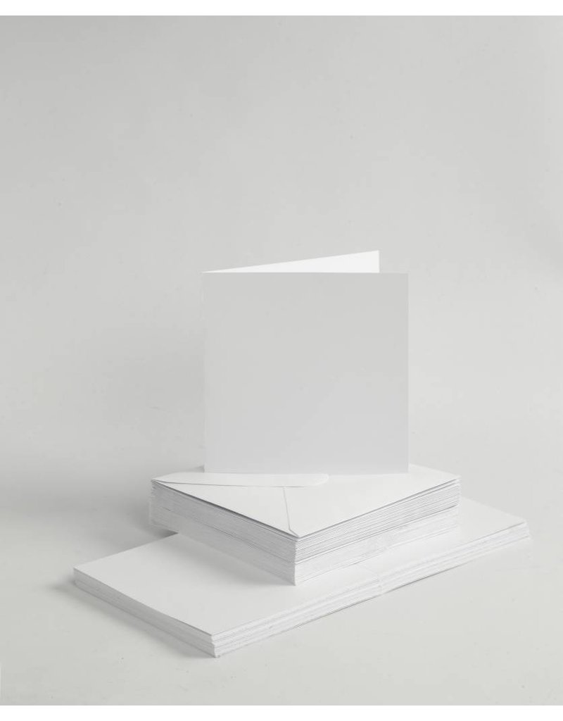 Kaarten en enveloppen, afmeting kaart 15x15 cm, afmeting envelop 16x16 cm, 50 sets, wit