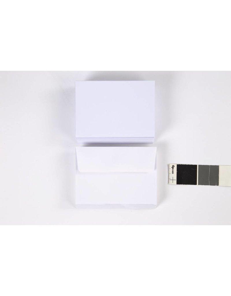Kaarten met envelop, afmeting kaart 10,5x15 cm, 180 gr, 50 sets, wit