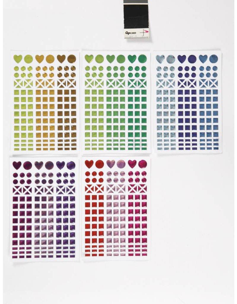 Mozaiek stickers, d: 8-14 mm, vel 11x16,5 cm, per stuk