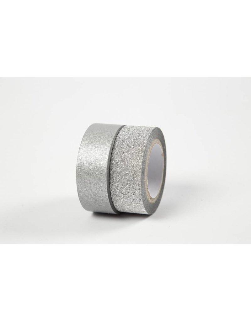 Masking tape, b: 15 mm, 2 rollen, zilver