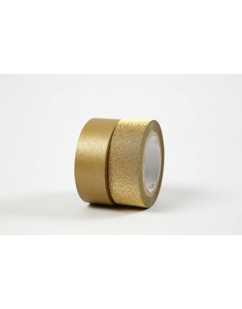 Masking tape, b: 15 mm, 2 rollen, goud