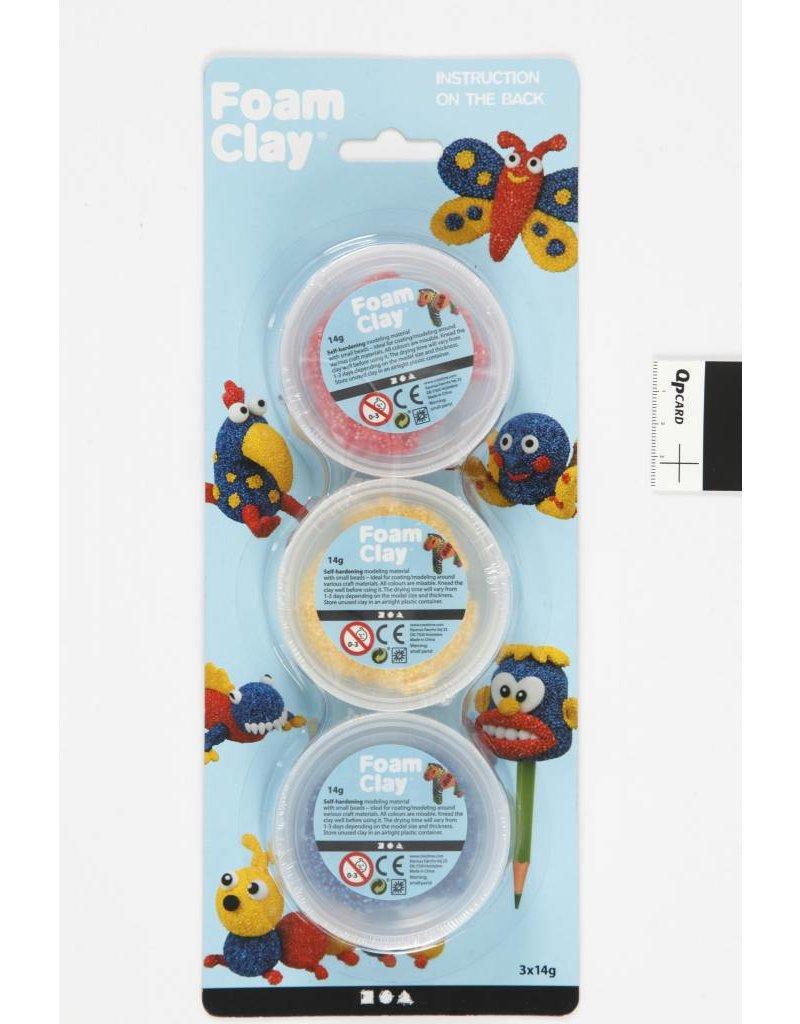 Foam Clay, 3x14 gr, blauw, geel, rood