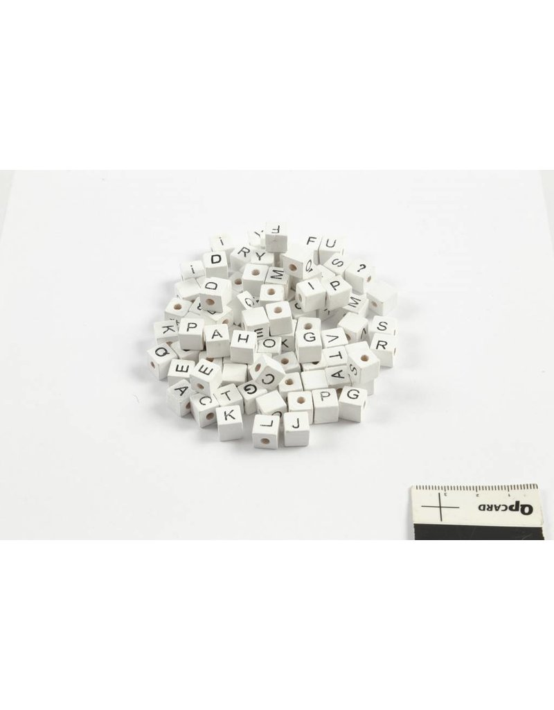 Letterkralen, afm 8x8 mm, gatgrootte 3 mm, 96 div, wit, grasboom