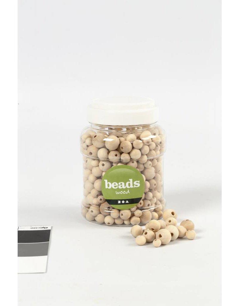 Houten kralen, d: 8+10+12+15 mm, gatgrootte 2-3 mm, 400 ml, china berry